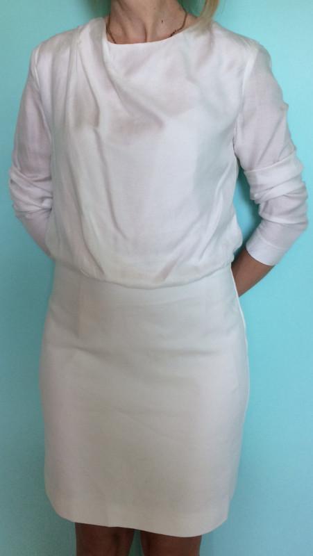 56c87cb45cdb610 Белое платье с драпировкой на горловине mango l-xl. мой пролёт, цена ...