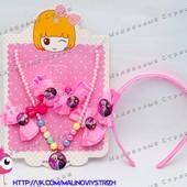 Набор - заколки, резинки, обруч, бусы-ожерелье с медальон, Frozen Эльза