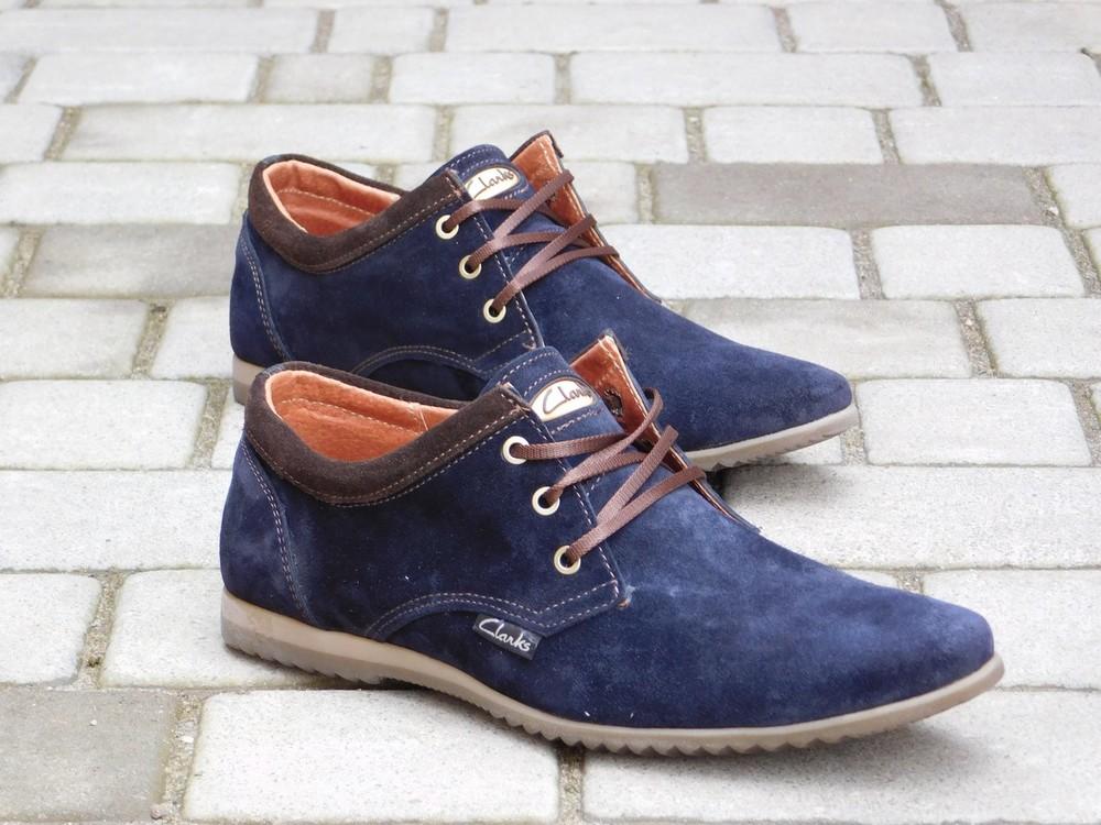 Туфли clarks, р. 40-45, две модели, син, черн, код gavk-10047 фото №1