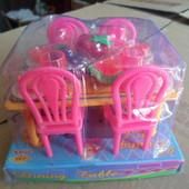 набор кукольной мебели столик со стульями и продуктами укр.п +10 гр