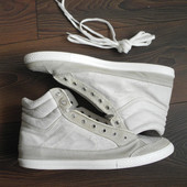 Кожаные кроссовки высокие белые серые Italy Италия р 45 стелька 29,5