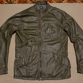 Безупречная мягкая кожаная куртка темно-оливкового цвета G-Star Raw L.