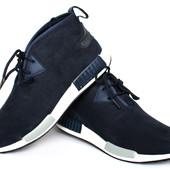 Мужские стильный синие кроссовки эко-замша (СК 519)