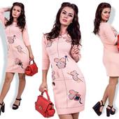 Платье с мышками в расцветках. Размеры: 42-44, 44-46.(1б