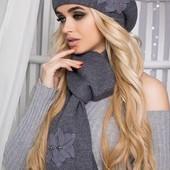 """Комплект """"Лилии """" (5051-10 ) берет и шарф. В расцветках (8"""