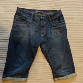 Узкие удлиненные джинсовые х/б шорты темно-синего цвета Next Англия 32 р.