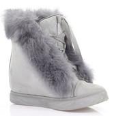 Код: rf5043, 45 Очень модные женские сникерсы на шнуровке  с мехом серого, коричневого цвета