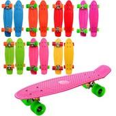 Скейт -пенни борд, 55,5-14,5см, алюм. подвеска, колесаПУ,6 цветов, 2вида,разобр,в кульке