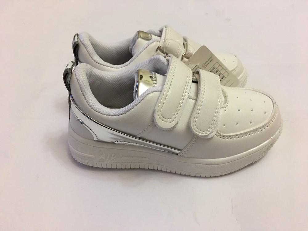 Детские кроссовки мокасины белые с вставкой серебро фото №1