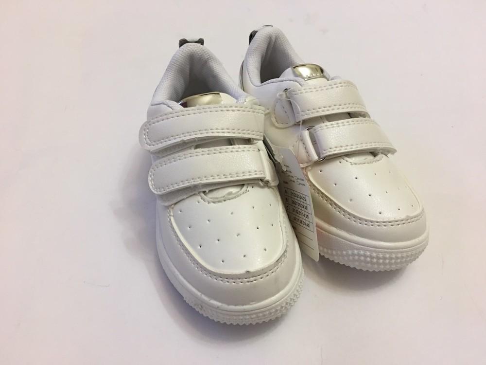 Детские кроссовки мокасины белые с вставкой серебро фото №2