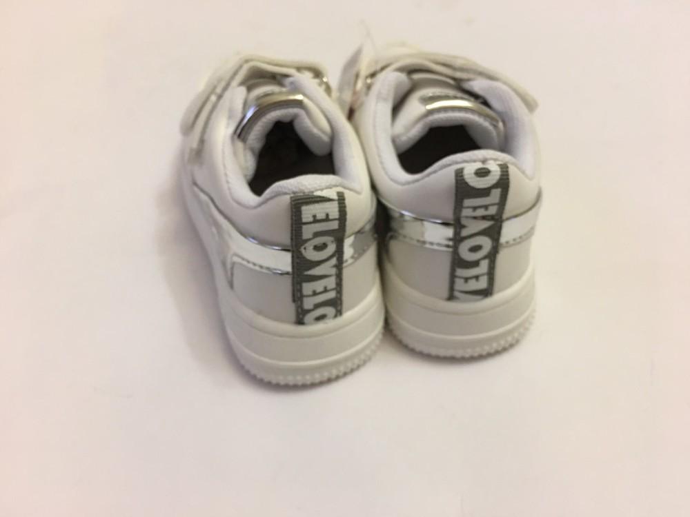 Детские кроссовки мокасины белые с вставкой серебро фото №3