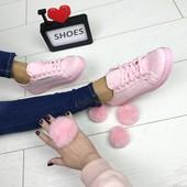 кеды розовые мягкий эко замш декорированы помпономи ( съемные) с кролика натур
