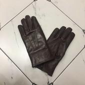 Кожаные мужские перчатки зимние большие