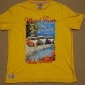 Якро желтая х/б фирменная футболка с ярким принтом Tokyo Laundry XL.