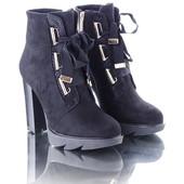 Элегантные замшевые ботинки шнуровка лента 10488