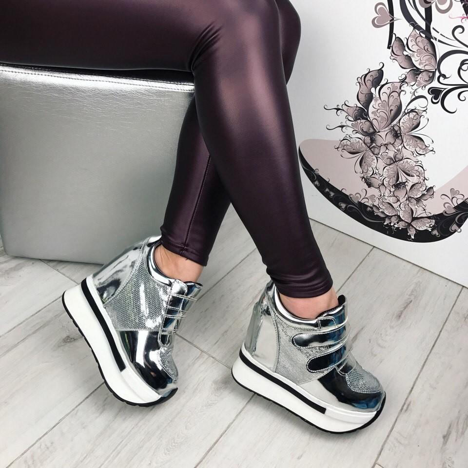 3fdf6032d Код 759 кроссовки-на липучках эко лак,цвет-серебро скрытая танкетка 11 см