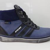 СП Кожанные спортивные  подростковые ботинки. р. 32-39 синие.черные Очень класные