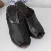 37 24,5см Minelli Кожаные шлепки на каблуке и платформе деревянная платформа