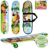 Детский скейтборд ММ 0009 с принтом мультипликационных героев Маша и Медведь