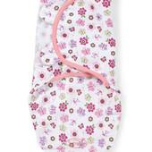 Summer Пеленочка на липучках хлопковая Swaddleme для девочки цветочки Flutter Flowers