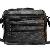 Мужская сумка черная из натуральной кожи (7003-Ч)