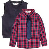 Комплект рубашка, галстук и жилетка H&M. Хлопок.  128, 140