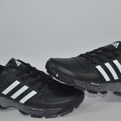 Мужские кроссовки Adidas, leather black