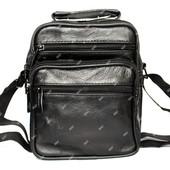 Мужская кожана сумка через плечо черная (7022-і)