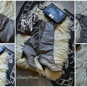 Крутые кожаные ботфорты с бахромой,р-р 40