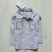 Новая нарядная рубашка для мальчика. Рукав можно сделать коротким. Vertbaudet. Размер 1-2 года