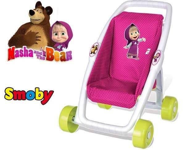 Smoby прогулочная коляска для кукол маша и медведь 250201 фото №1