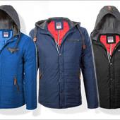 Мужская демисезонная модная курточка с трикотажным капюшоном