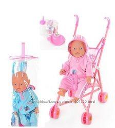 Пупс аналог baby born с металлической коляской, 60 см фото №1