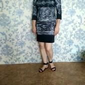 Красивое вечернее серо-черное платье в отличном состоянии