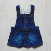 Стильный джинсовый сарафан для маленькой принцессы. F&F. Размер 0-3 месяца. Состояние: новой вещи