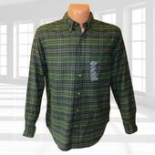 Фланелевая темно-зеленая рубашка в клетку р.М/L St. Johns Bay