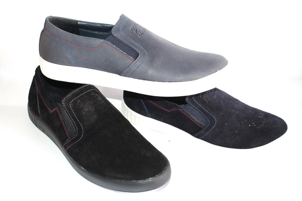 Кожаные/замшевые мужские слипоны, разные цвета фото №1
