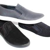 Кожаные/замшевые мужские слипоны, разные цвета