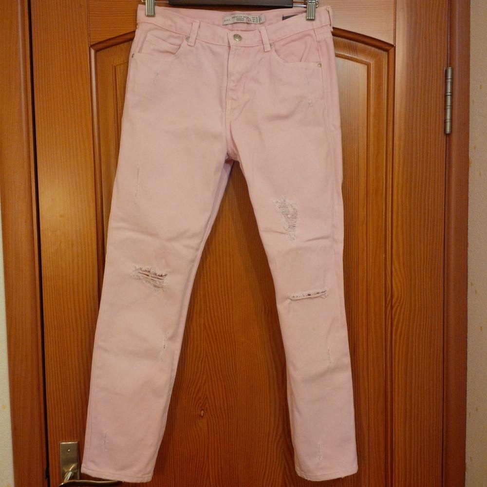 Розовые рваные джинсы zara фото №1
