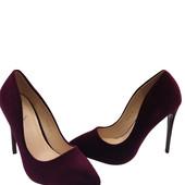 Туфли женские бордовый бархат