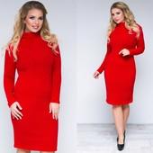 Теплое платье-миди с горлом ангора рубчик большие размеры