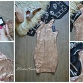 Новое платье с россыпью золотых пайеток,р-р С