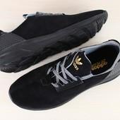 Мужские кроссовки Синие и чёрные натуральная кожа
