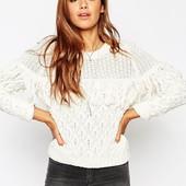 XS-S Asos бомбезный белоснежный свитер в бохо стиле!