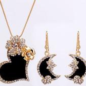 Позолоченный набор украшений с кристаллами цепочка с подвеской и серьги