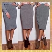 Новинка 2017! Базовая теплая юбка - карандаш из шерстяного твида. 3 цвета. 42-50р.