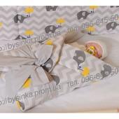 """бампер бортик бортики защита для детской кроватки защитное ограждение -""""Слоники зонтики"""""""