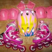 Детские раздвижные ролики с шлемом и защитой, размер 27-30.