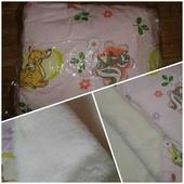 Новое одеяло детское с подушкой на набивной овчине