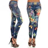 Стильные принтованные женские лосины под джинс с бабочками